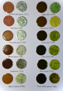 Figure 11: Light green transparent enamels applied directly on copper base and directly on pure silver foil.