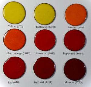 Fig 3: Smalti rossi opachi su rame.