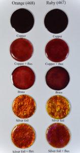 Fig 9: Test per studiare come Ruby e Orange reagiscono a contatto con i diversi metalli.