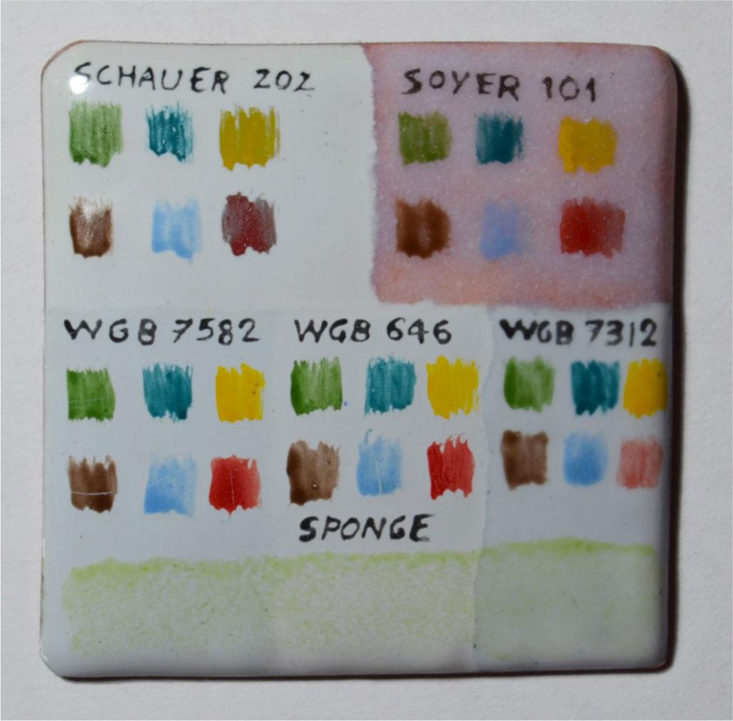 Figure 1: Basi con e senza piombo testate per la compatibilita` dei colori.