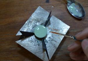 Opaque enamel sample on copper